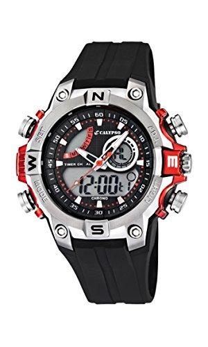 Calypso-watches-K55861-Montre-Garons-Quartz-Analogique-et-digitale-AlarmeChronomtreEclairage-Bracelet-Caoutchouc-Noir-0