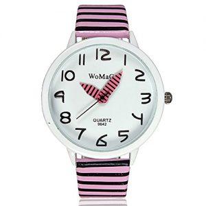 Montre-Bracelet-Quartz-Aiguille-Zebre-Mignon-PU-Enfant-Cadeau-Watch-Rose-0