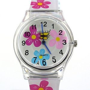Zeiger-Montre-Quartz-Analog-Fille-Fleurs-Flowers-Silicone-Bracelet-Blanc-Cute-Fashion-Gift-0