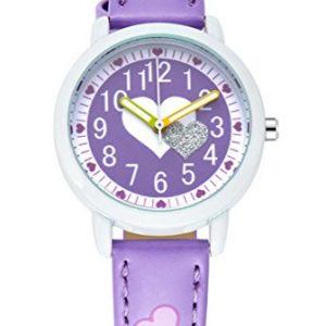 Montre-Fille--Quartz-Analogique-Montre-Bracelet-Cuir-Cadeau-Idal-Violet-0