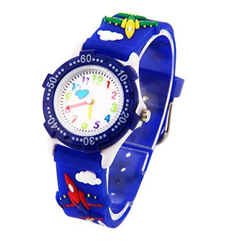 Montre-Garon-Pdagogique-Enfant-avec-3D-Bracelet-en-Caoutchouc-Motif-Quartz-Cadran-Blanc-Bleu-fonc-Avion-0