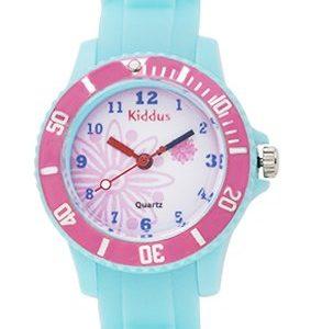 Montre-fille-pour-enfants-caisse-cadeau-submersible--leau-5ATM-ROSE-FLEUR-quartz-mcanisme-Seiko-batterie-Sony-Kiddus-KI10112-0