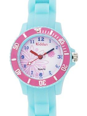 Montre-fille-pour-enfants-caisse-cadeau-submersible–leau-5ATM-ROSE-FLEUR-quartz-mcanisme-Seiko-batterie-Sony-Kiddus-KI10112-0