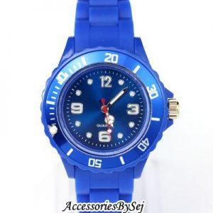 PETITS-33mm-MONTRE-ENFANTS-FILLES-GARONS-FEMMES-QUARTZ-SILICON-MONTRE-Choix-de-24-couleurs-Prsent-avec-Gratuit-Luxueux-AccessoriesBySej--TM-cadeau-Pochette-Sac-Bleu-Fonc-33mm-0