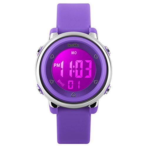 achat beswlz montres enfants digitale sport fille gar on chrono alarme etanche montres violet. Black Bedroom Furniture Sets. Home Design Ideas