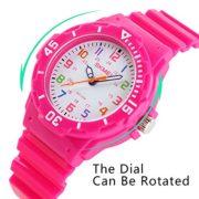 Garons-Fille-Enfants-Quartz-analogique-Montre-50M-Etanche-Deux-Fois-Display-Modes-Boussole-Rotative-Gele-Couleur-Mode-Dcontracte-Montres-pour-Enfants-et-PU-Sangle-Rose-Rot-0-0