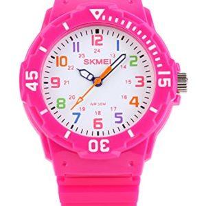 Garons-Fille-Enfants-Quartz-analogique-Montre-50M-Etanche-Deux-Fois-Display-Modes-Boussole-Rotative-Gele-Couleur-Mode-Dcontracte-Montres-pour-Enfants-et-PU-Sangle-Rose-Rot-0