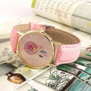 Montre–Quartz-en-Cuir-PU-Dreamcatcher-Comme-Bracelet-Montres-Pour-Femme-Fille-Rose-0