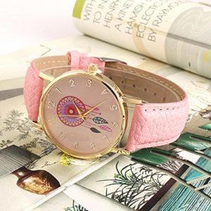 Montre--Quartz-en-Cuir-PU-Dreamcatcher-Comme-Bracelet-Montres-Pour-Femme-Fille-Rose-0