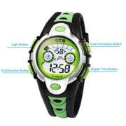 OTS-Montres-Digitales-Enfants-Bracelet-en-Caoutchouc-avec-LED-7-Couleurs-Lumire-Garons-Montres-de-Sports-Etanche-pour-Etudiant-Noir-et-Vert-0-0