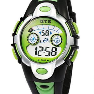 OTS-Montres-Digitales-Enfants-Bracelet-en-Caoutchouc-avec-LED-7-Couleurs-Lumire-Garons-Montres-de-Sports-Etanche-pour-Etudiant-Noir-et-Vert-0