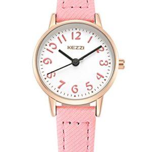 KEZZI-Montre--Quartz-Enfant-Fille-Cadran-Ronde-Bracelet-en-Cuir-PU-Montre-Etanche--Leau-30-M-simple-Vintage-Couleur-Rose-0