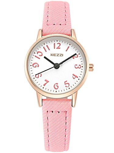 KEZZI-Montre–Quartz-Enfant-Fille-Cadran-Ronde-Bracelet-en-Cuir-PU-Montre-Etanche–Leau-30-M-simple-Vintage-Couleur-Rose-0