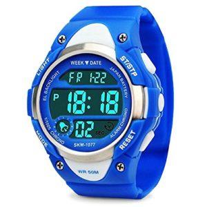 garons-Digital-montres-enfants-montre-de-sport-avec-alarme-extrieur-tanche--50-m-pour-enfant-lectronique-poignet-montres-Chronomtre-pour-adolescents-garons-Bleu-par-Foruner-0