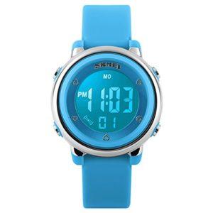 Montre-numrique-sport-pour-enfants-Montres-de-sport-pour-garons-Montre-lectrique-tanche--LED-et-alarme-pour-filles-Chronomtre-Bleue-0
