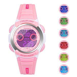 Hiwatch-Montre-Enfant-Lumires-Numrique-LED-Multifonctionnelle-Rsistante--lEau-Montres-Poignet-Temps-Cadeau-pour-Garons-Filles-Petits-Enfants-Rose-0
