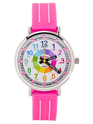 Montre-fille-pour-enfants-APPRENDRE-LHEURE-dans-une-bote-cadeau-AVEC-EXERCICES-rsistant–leau-quartz-mcanisme-Seiko-Pile-Sony-rose-Premier-Time-Teacher-de-Kiddus-0