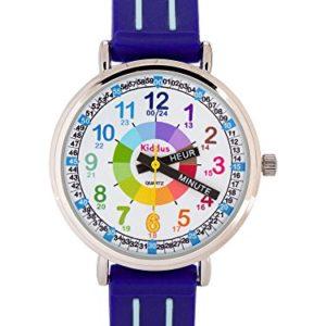 Montre-garon-pour-enfants-APPRENDRE-LHEURE-dans-une-bote-cadeau-AVEC-EXERCICES-rsistant--leau-quartz-mcanisme-Seiko-Pile-Sony-bleu-Premier-Time-Teacher-de-Kiddus-0