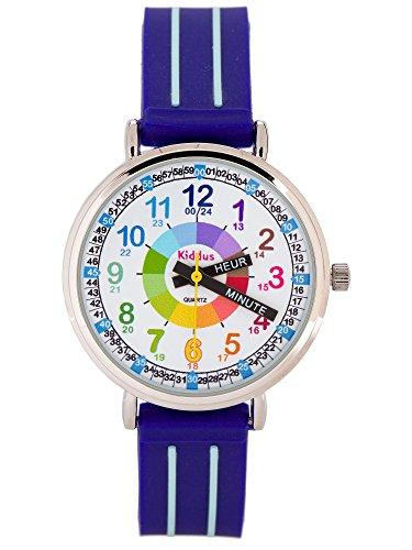Montre-garon-pour-enfants-APPRENDRE-LHEURE-dans-une-bote-cadeau-AVEC-EXERCICES-rsistant–leau-quartz-mcanisme-Seiko-Pile-Sony-bleu-Premier-Time-Teacher-de-Kiddus-0