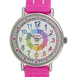 Montre-fille-pour-enfants-APPRENDRE-LHEURE-dans-une-bote-cadeau-AVEC-EXERCICES-rsistant--leau-quartz-mcanisme-Seiko-Pile-Sony-rose-Premier-Time-Teacher-de-Kiddus-0