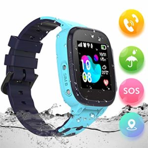 Montre-Enfant-GPS-Tracker-tanche-Telephone-Montre-Connecte-Enfant-Fille-Garon-LBS-SOS-Smart-WatchesBlue-0